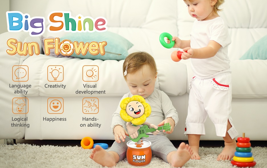 Dancing Sunflower with Voice,Sound,Music,Songs and Voice Baby Music Toys for 1 2 3 Year Old Boys and Girls Gifts